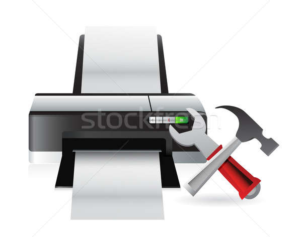 printer setting tools illustration design over a white backgroun Stock photo © alexmillos