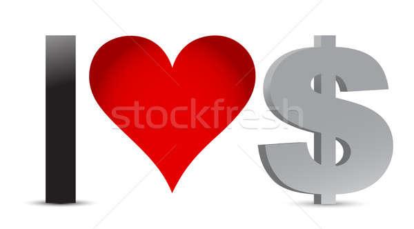Amore dollaro valuta illustrazione design felice Foto d'archivio © alexmillos