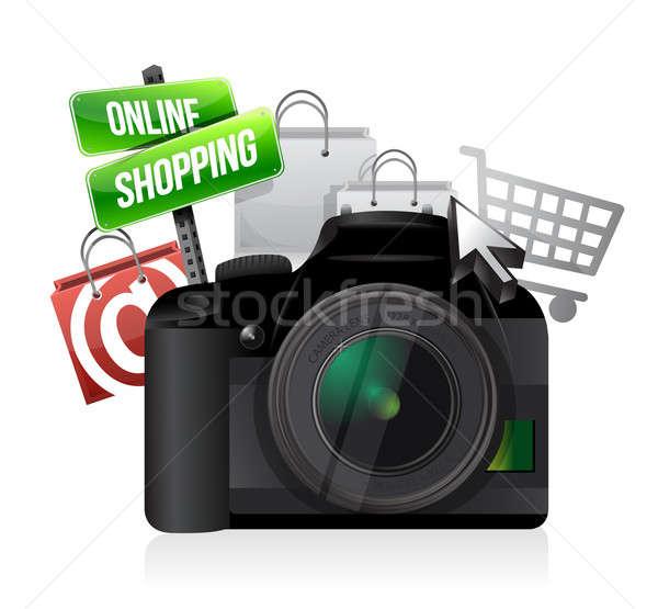 Stock fotó: Kamera · online · vásárlás · illusztráció · terv · fehér · fekete