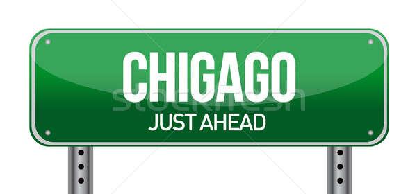 дорожный знак Чикаго город знак шоссе движения Сток-фото © alexmillos