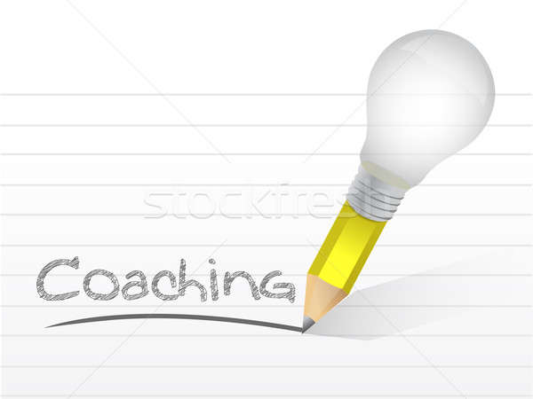 Coaching handwritten with lightbulb pencil Stock photo © alexmillos