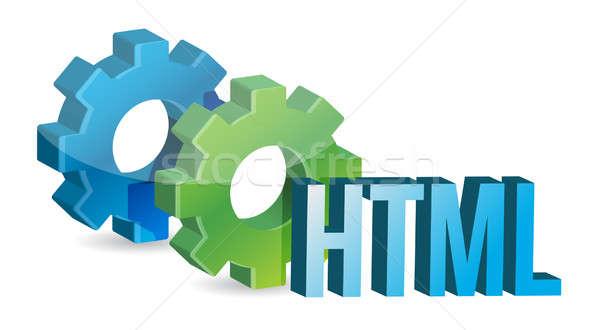 HTML industrial gears concept Stock photo © alexmillos