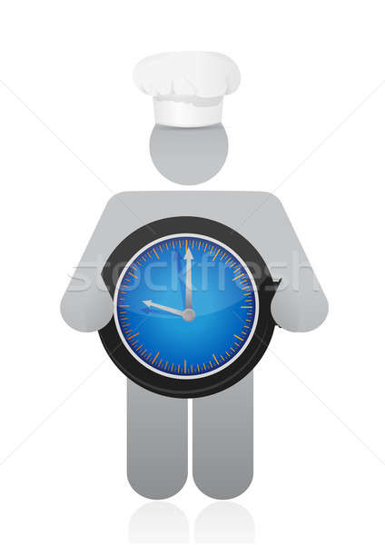 Chef holding a clock. Cooking time concept Stock photo © alexmillos