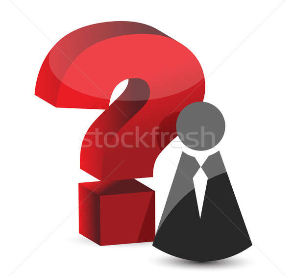 question mark icon illustration design over white Stock photo © alexmillos