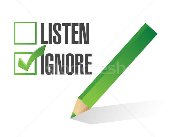 Listen or ignore check box illustration design  Stock photo © alexmillos