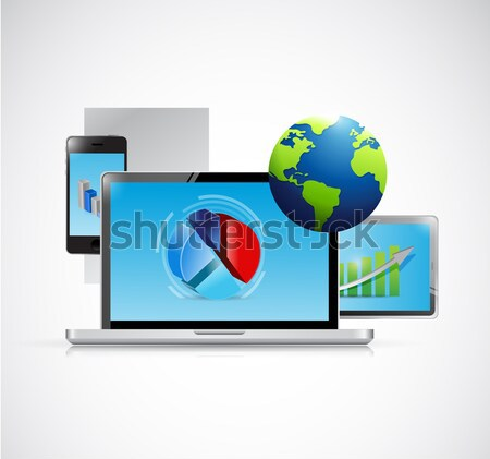 electronics and arrow business graphs isolated Stock photo © alexmillos