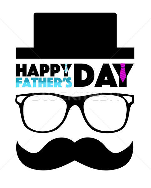 Happy Fathers day hat, glasses and mustache Stock photo © alexmillos