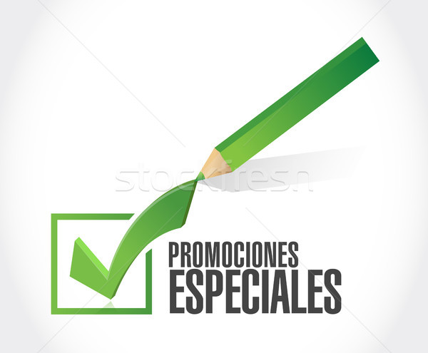 Stock photo: special promotions in Spanish check mark sign