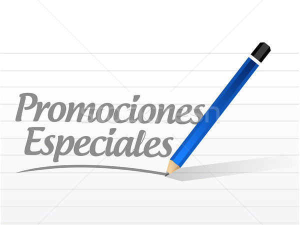 Stock photo: special promotions in Spanish message sign concept