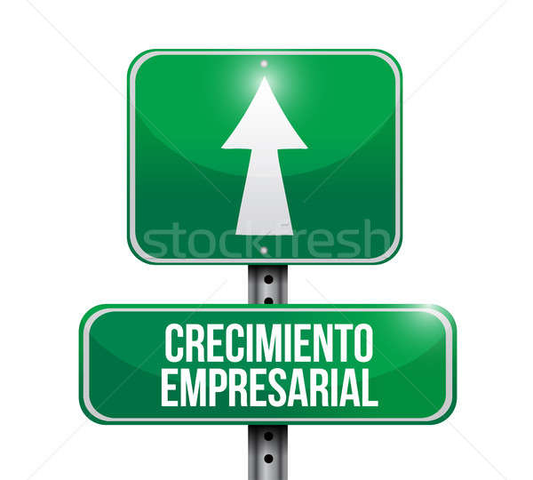 Business Growth road sign in Spanish. Stock photo © alexmillos
