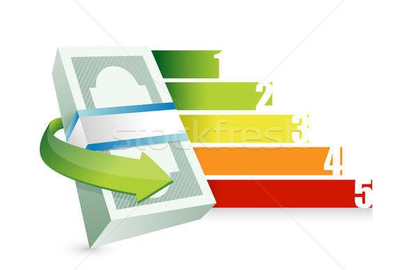 Pénzügyi üzleti grafikon illusztráció terv fehér papír Stock fotó © alexmillos