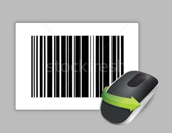 Код беспроводных Компьютерная мышь изолированный белый бизнеса Сток-фото © alexmillos