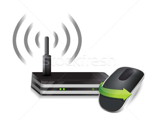 маршрутизатор беспроводных Компьютерная мышь изолированный белый компьютер Сток-фото © alexmillos