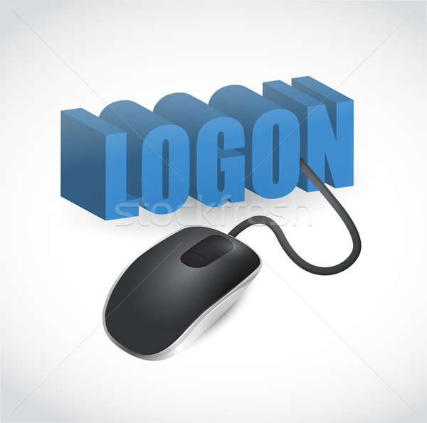 logon sign and mouse illustration design Stock photo © alexmillos