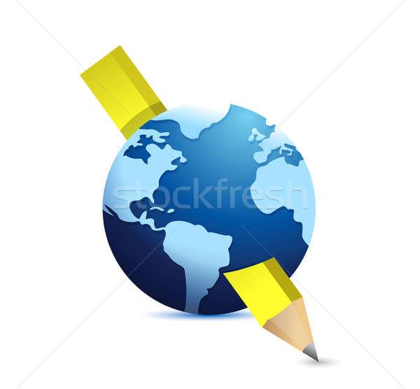 Lápis globo ilustração projeto branco papel Foto stock © alexmillos