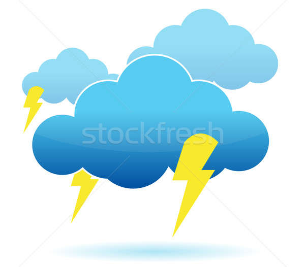 Tuono nube fulmini illustrazione bianco Foto d'archivio © alexmillos