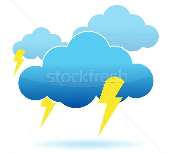 Donder wolk bliksem illustratie witte Stockfoto © alexmillos