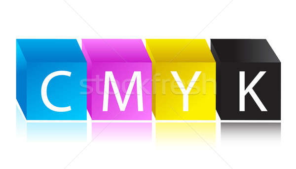 CMYK color cube illustration design Stock photo © alexmillos