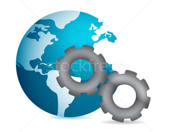 globe into gear illustration design on white background Stock photo © alexmillos