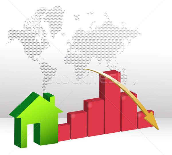 Falling home sales illustration design Stock photo © alexmillos