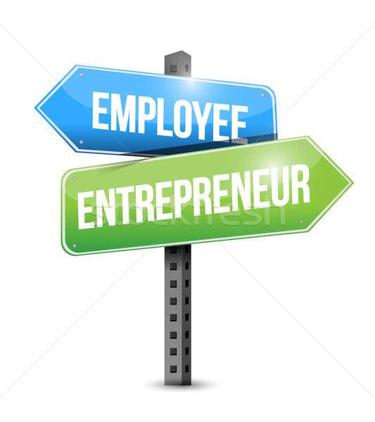 employee, entrepreneur road sign illustration design over white Stock photo © alexmillos