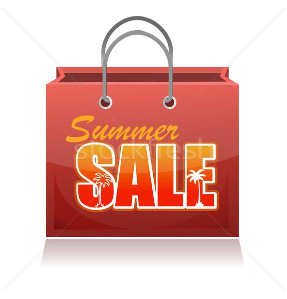Bolsa de compras verão venda ilustração projeto branco Foto stock © alexmillos