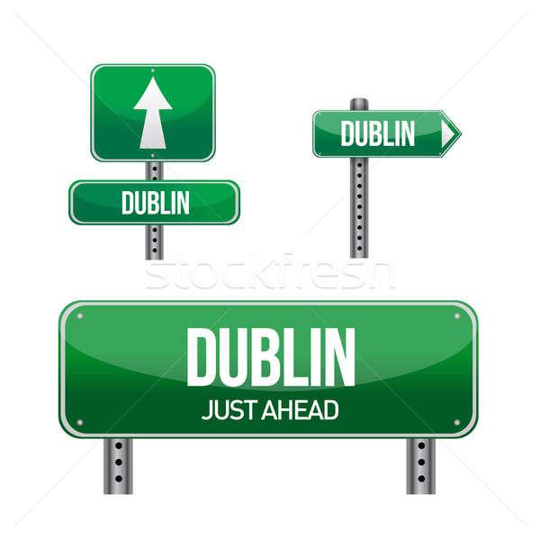 ダブリン 市 道路標識 実例 デザイン 白 ストックフォト © alexmillos