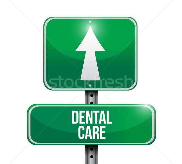 Zahnpflege Schild Illustration Design weiß Lächeln Stock foto © alexmillos