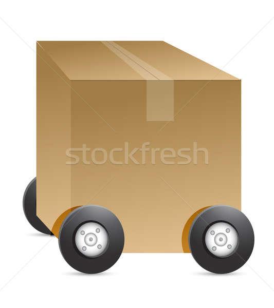 Brun paquet voiture chiffre illustration blanche Photo stock © alexmillos
