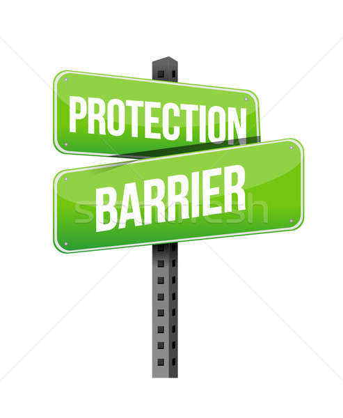 protection barrier road sign illustration design over a white ba Stock photo © alexmillos