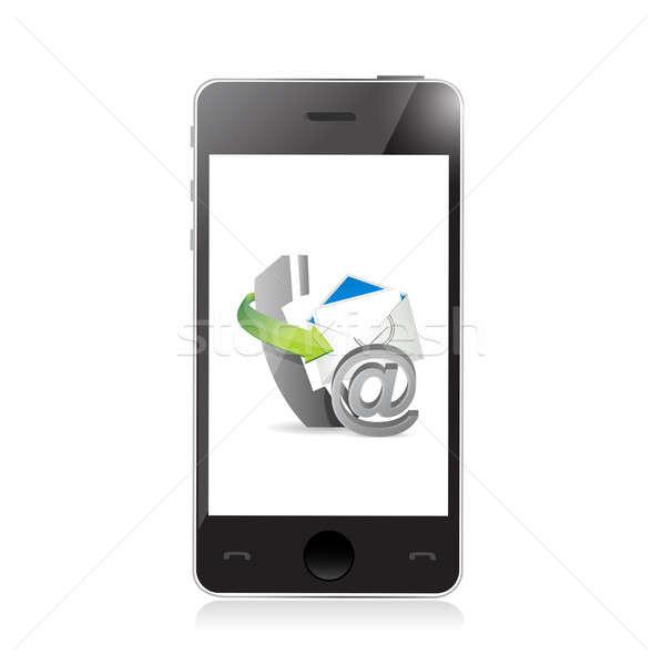 Foto stock: Conjunto · telefone · ilustração · projeto · branco