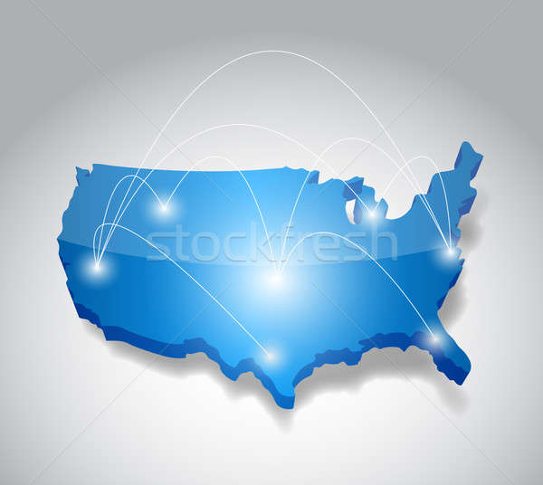 Usa map network connection concept illustration design graphic Stock photo © alexmillos