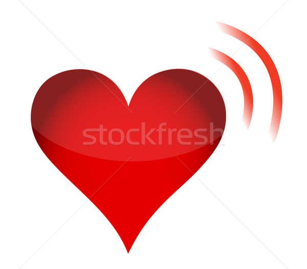 wi fi red heart love illustration design over white Stock photo © alexmillos
