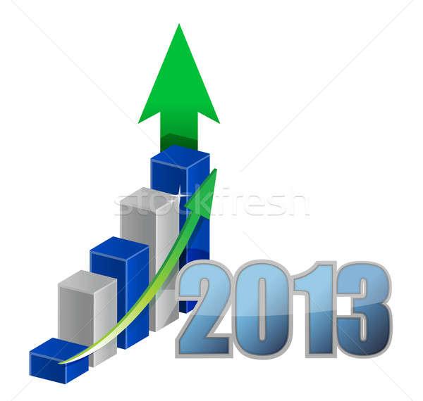 év üzleti grafikon illusztráció terv fehér felirat Stock fotó © alexmillos
