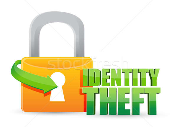 Személyazonosság-lopás arany zár illusztráció terv fehér Stock fotó © alexmillos