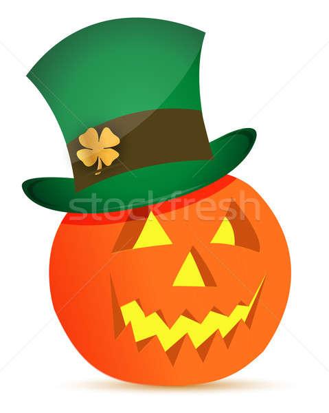 halloween pumpkin and saint patricks hat illustration design Stock photo © alexmillos