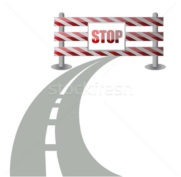 barrier on the road illustration design over white Stock photo © alexmillos