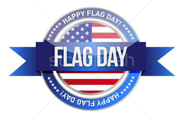 Flag day. us seal and banner Stock photo © alexmillos