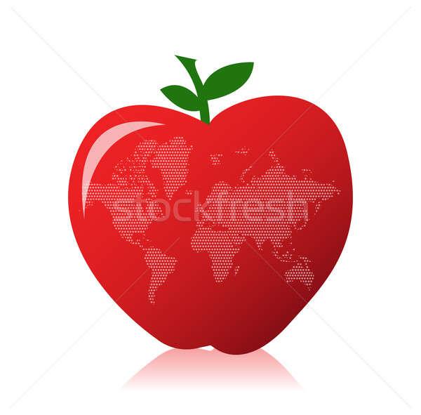 Stock foto: Apfel · Weltkarte · Erde · Raum · Web · grünen