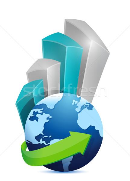 Działalności świecie wykres ilustracja projektu Internetu Zdjęcia stock © alexmillos