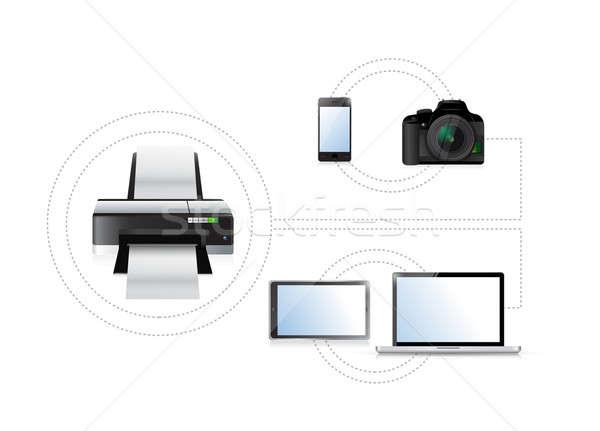 Afdrukken opties ingesteld elektronica illustratie business Stockfoto © alexmillos