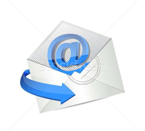 Boríték email felirat izolált fehér kéz Stock fotó © alexmillos