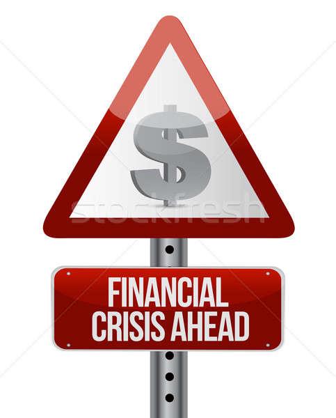Waarschuwing verkeersbord financiële crisis business Rood bank Stockfoto © alexmillos