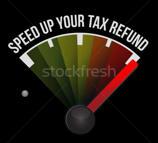 Speed up your tax refund speedometer illustration Stock photo © alexmillos