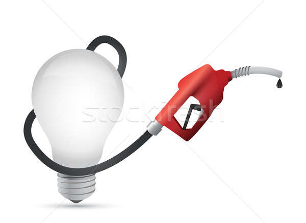 Lightbulb with a gas pump nozzle Stock photo © alexmillos
