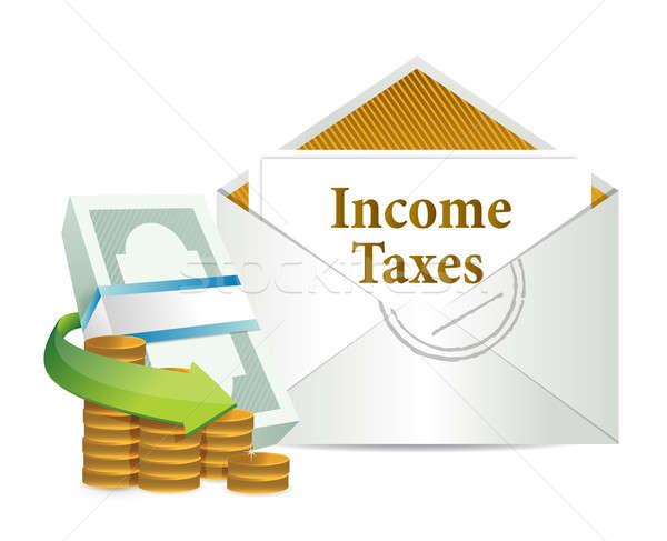Jövedelem adózás posta pénz üzlet felirat Stock fotó © alexmillos
