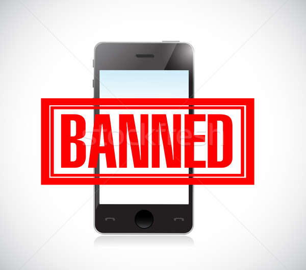 banned stamp over a phone. illustration design Stock photo © alexmillos
