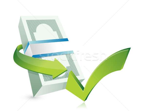Monetair goedkeuring illustratie ontwerp witte business Stockfoto © alexmillos