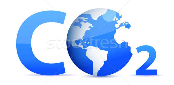 chemical symbol CO2 for carbon dioxide in blue Stock photo © alexmillos