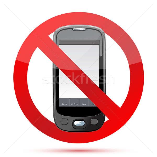 Foto stock: Não · celular · assinar · ilustração · projeto · isolado
